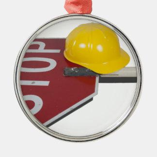 StopSignPoleConstructionHat051913.png Metal Ornament