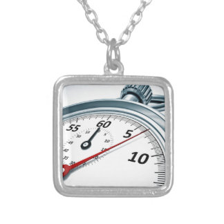 stopwatch silver plated necklace