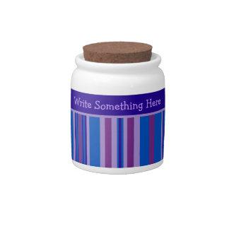 Storage Jar: Personalize Blue, Mauve, Pink Stripes Candy Jars