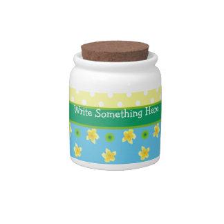 Storage Jar to Personalize: Primroses, Polkas Candy Jar