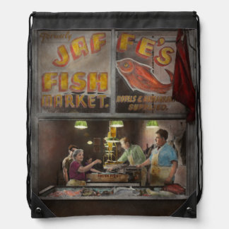 Store - Fish NY - Jaffe's Fish Market Drawstring Bag