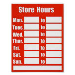 STORE HOUR POSTER