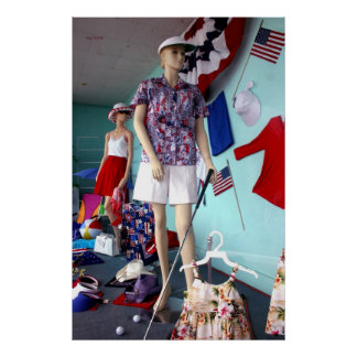 Store Window Display, 4th of July, Chester, CA Poster