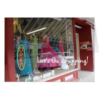 Store Window Display, Let's Go Shopping! Card