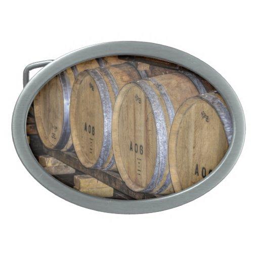 Stored Wine Barrels. Oval Belt Buckle