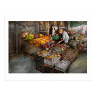 Storefront - Hoboken, NJ - Picking out fresh fruit Postcard