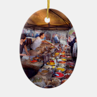 Storefront - The open air Tea & Spice market Double-Sided Oval Ceramic Christmas Ornament