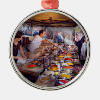Storefront - The open air Tea & Spice market Round Metal Christmas Ornament