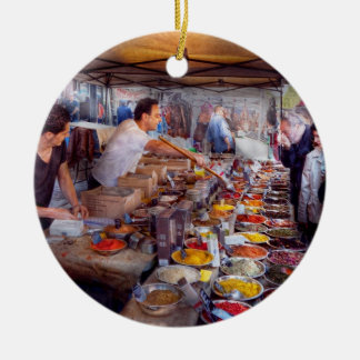 Storefront - The open air Tea & Spice market Double-Sided Ceramic Round Christmas Ornament