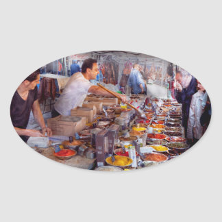 Storefront - The open air Tea & Spice market Oval Sticker