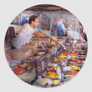 Storefront - The open air Tea & Spice market Classic Round Sticker