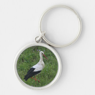 Stork 1 Silver-Colored round keychain