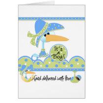 Stork African American Boy Cards