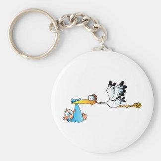Stork and Baby Boy Basic Round Button Keychain