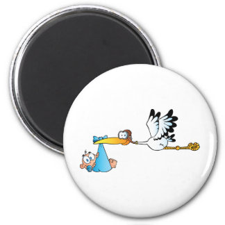 Stork and Baby Boy Refrigerator Magnets