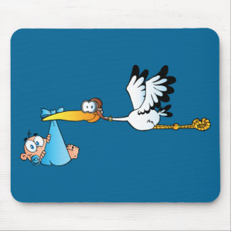 Stork and Baby Boy Mouse Pad