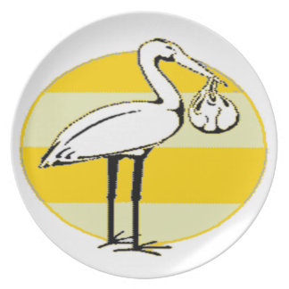 Stork and Baby Bundle Melamine Plate