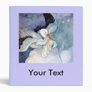 Stork and Baby Customizable Binder