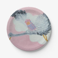 Stork and Baby Girl Paper Plate