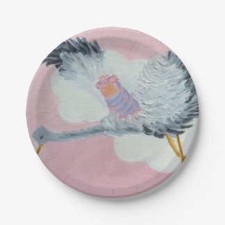 Stork and Baby Girl Paper Plate 7 Inch Paper Plate