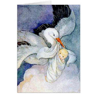 Stork and Baby Greeting Card