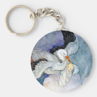 Stork and Baby Keychain
