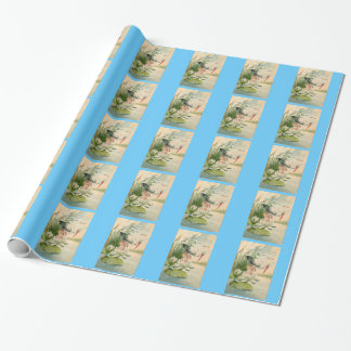 Stork and Baby on 100 Year Old Birth Announcement Gift Wrap Paper
