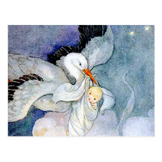 Stork and Baby Post Card