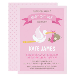 Stork and Bear Pink Baby Shower Invitation