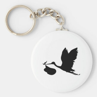 Stork and Bundle of Joy Silhouette Basic Round Button Keychain