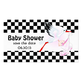 Stork and Checkerboard  Baby Shower Save the Date Double-Sided Standard Business Cards (Pack Of 100)