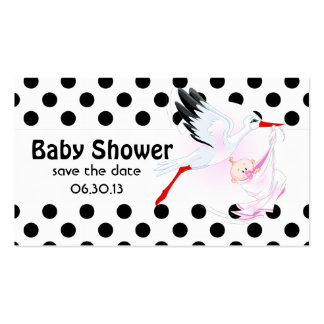 Stork and Polka Dots Baby Shower Save the Date Double-Sided Standard Business Cards (Pack Of 100)