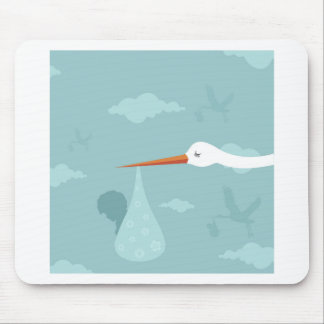 Stork and the kid mouse pad