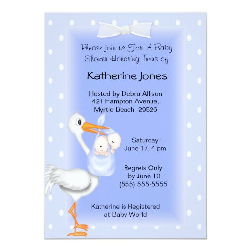 Stork and Twin Boys Shower Invitations