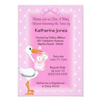 Stork and Twin Girls Shower Invitations