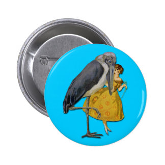 Stork and Young Woman - Art Nouveau Pin