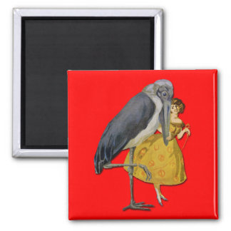 Stork and Young Woman - Art Nouveau Refrigerator Magnet
