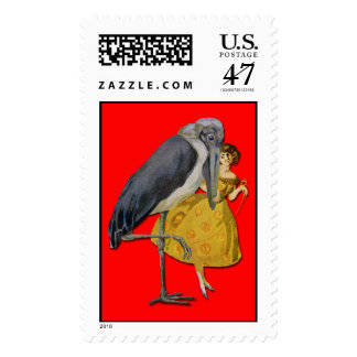 Stork and Young Woman - Art Nouveau Stamp