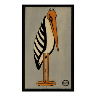 Stork - Antiquarian, Colorful Book Illustration Poster