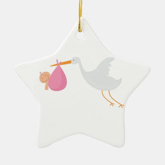 Stork Arrival Ceramic Ornament