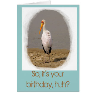 Stork Art Birthday Card (in aqua)