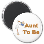 Stork Aunt To Be 2 Inch Round Magnet