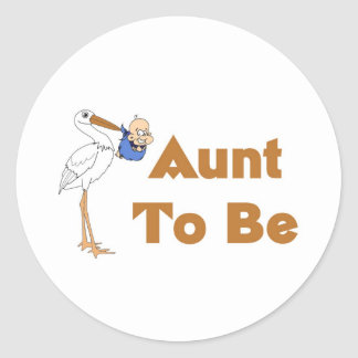 Stork Aunt To Be Classic Round Sticker
