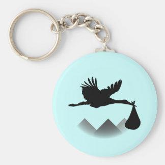 Stork & Baby Basic Round Button Keychain