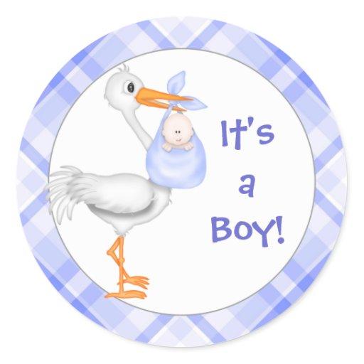 Stork & Baby Boy Baby Announcement Classic Round Sticker