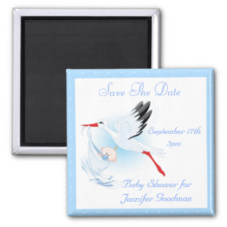 Stork & Baby Boy Blue Save the Date Baby Shower Magnet