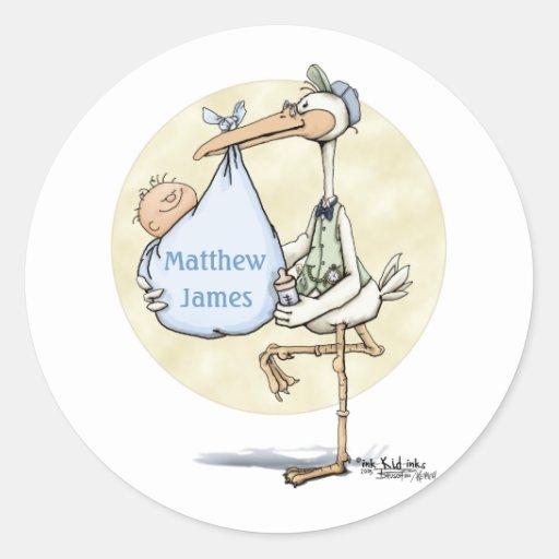 Stork - Baby Boy Classic Round Sticker