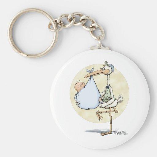 Stork - Baby Boy Key Chain
