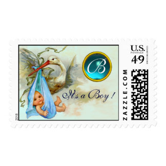 STORK BABY BOY SHOWER 2 MONOGRAM AQUAMARINE POSTAGE