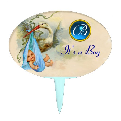 STORK BABY BOY SHOWER 2 MONOGRAM ,turquase Oval Cake Pick